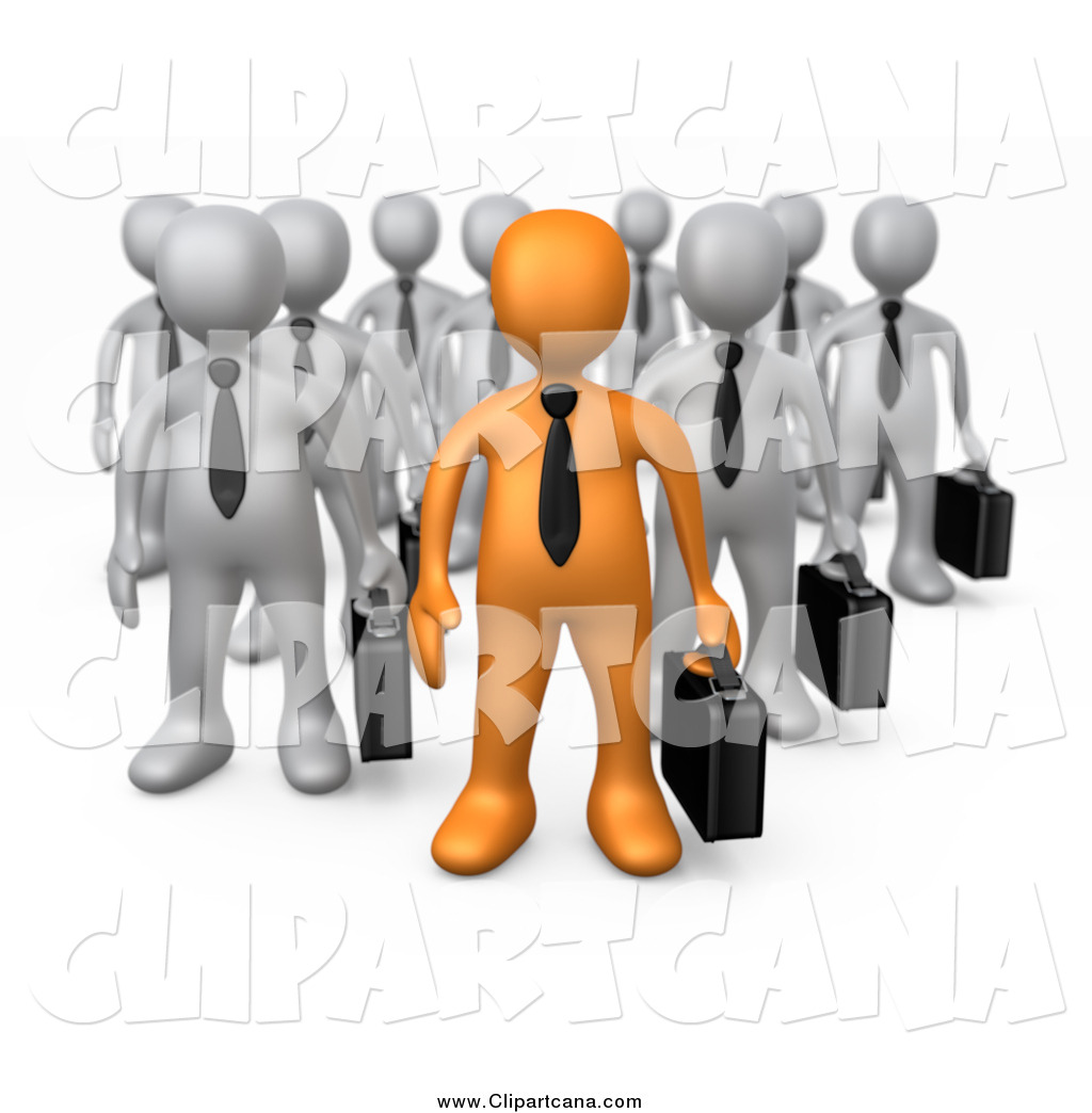 Clip Art of a 3d Orange Business Man Leading a Group of Gray Men.