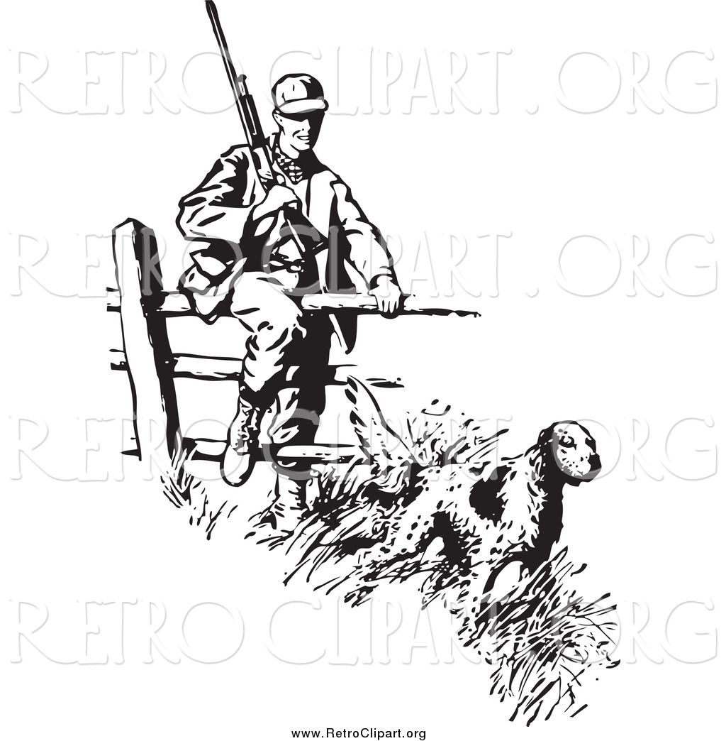 Clipart of a Retro Black and White Dog Leading a Hunter over a.