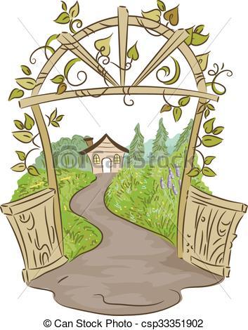 Vector Clipart of Garden House Gate.