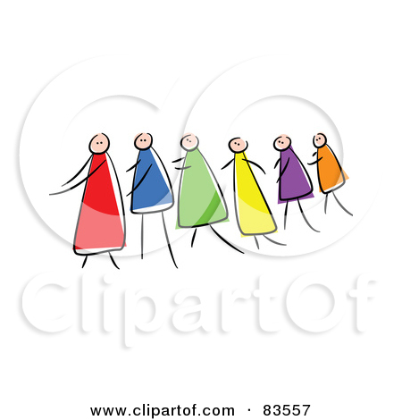 Clipart Blind Stick People Leading Each Other.