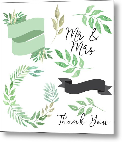 Watercolor Mr & Mrs Wedding Foliage Leaves Leaf Banner Wreath Clipart Metal  Print.