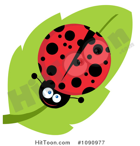 Ladybug Clipart #1090977: Smiling Lady Bug on a Leaf by Hit Toon.
