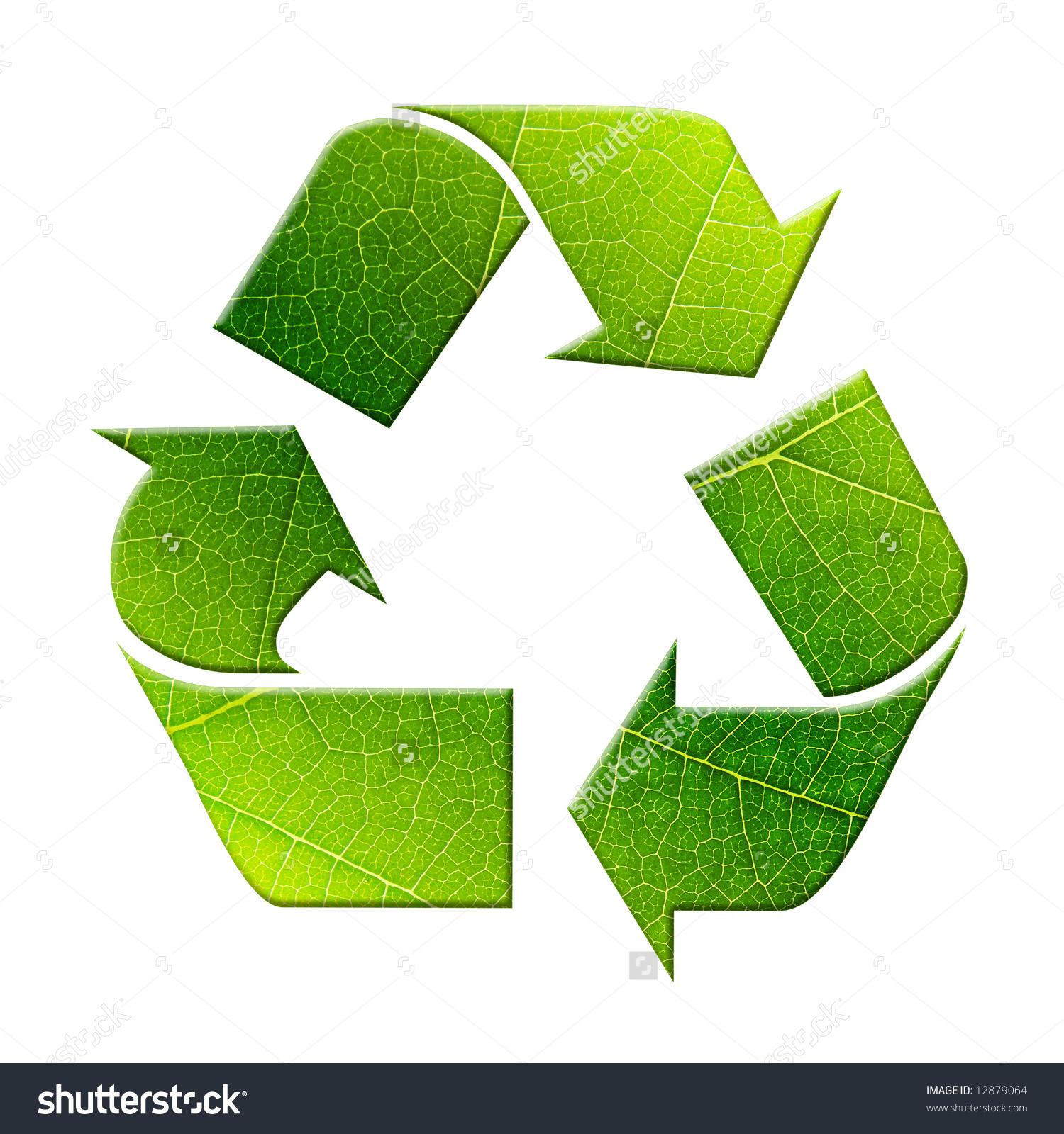 Green Three Arrow Recycling Symbol Superimposed Stock Photo.