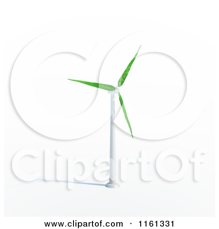 Clipart of a 3d Windmill with Leaf Blades.