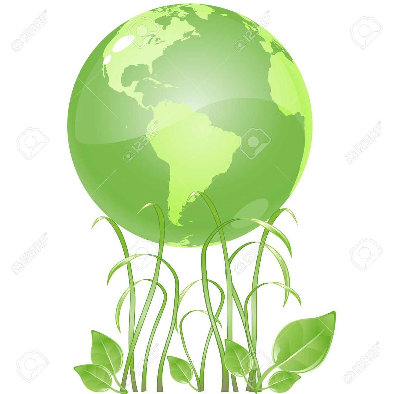 Vector Clip Art Of A Ecologicaly Green, Glossy Globe, Resting.