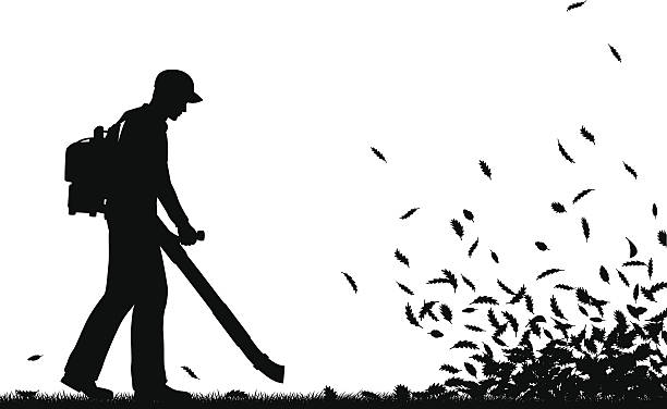Silhouette Of Leaf Blower Clip Art, Vector Images & Illustrations.