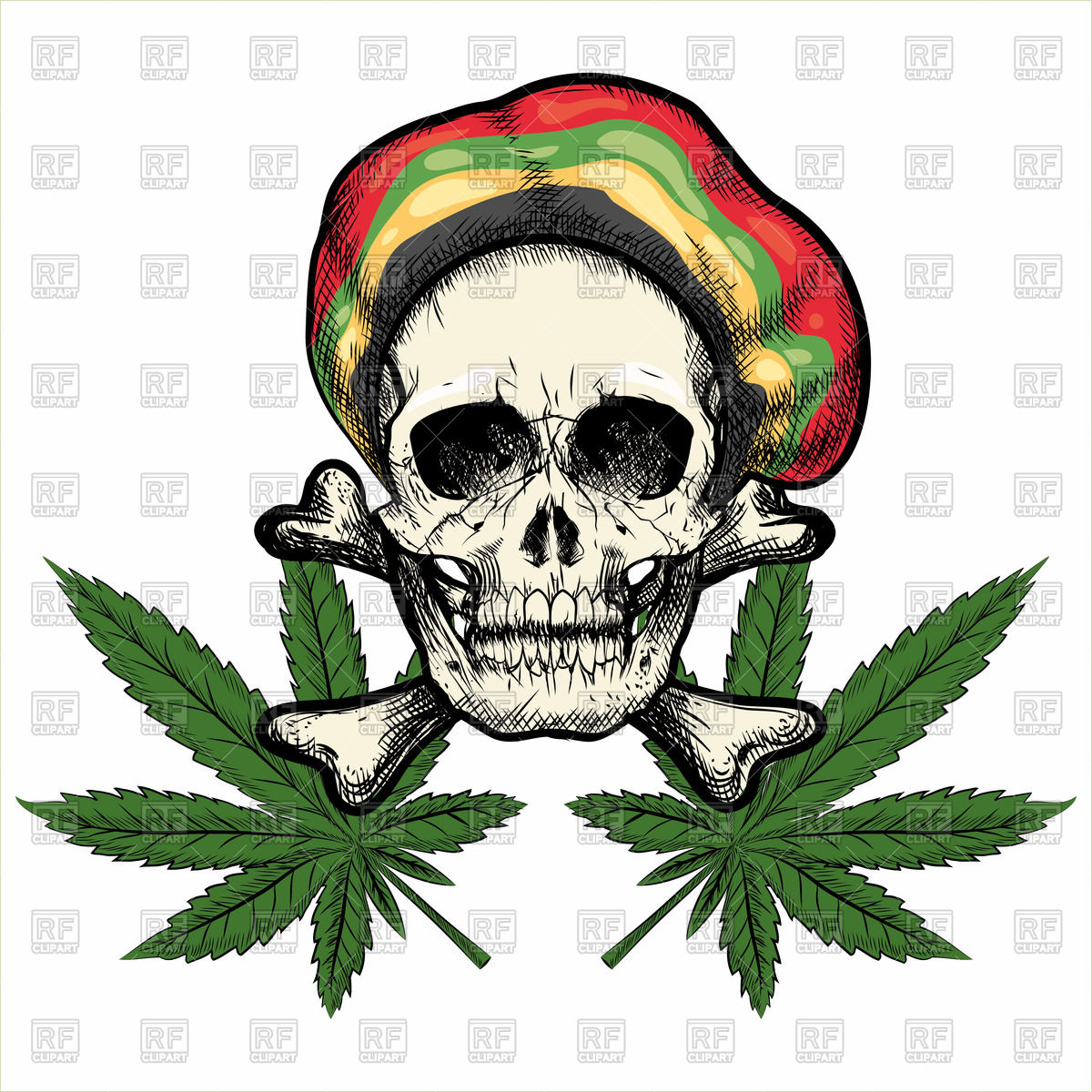 Skull in rastaman cap and marijuana leaves Vector Image #72332.