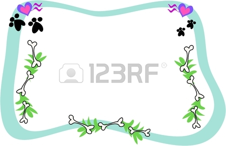 Frame Of Bones, Paws, Hearts, And Leaves Royalty Free Cliparts.