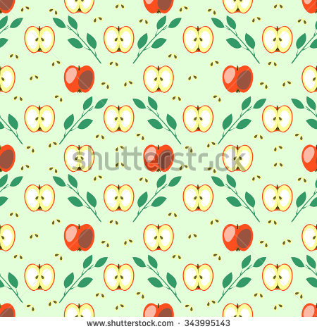 Seamless Fruits Vector Pattern, Geometric Background With Red.