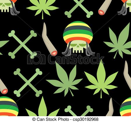 Clip Art Vector of Jamaica drugs seamless pattern. Rasta skull and.
