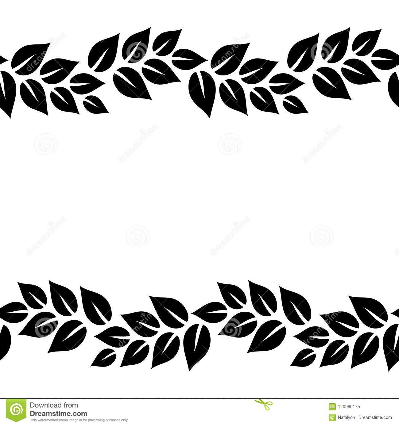 Black And White Elegant Leaves Seamless Border Frame, Vector.
