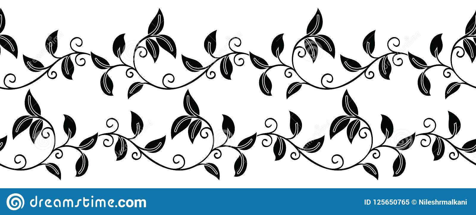 Seamless Black And White Leaves Border Stock Vector.