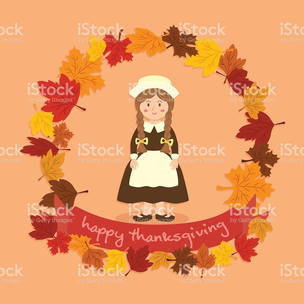 Circle Autumn Leaf Thanksgiving Braid Girl stock vector art.