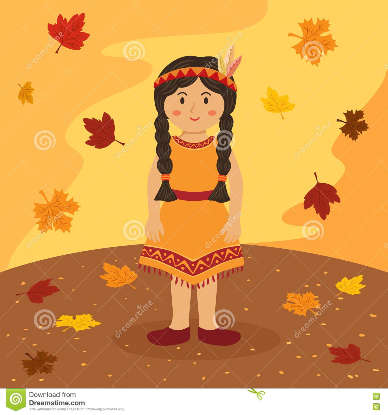Thanksgiving Indian Braid Girl Cartoon Stock Vector.