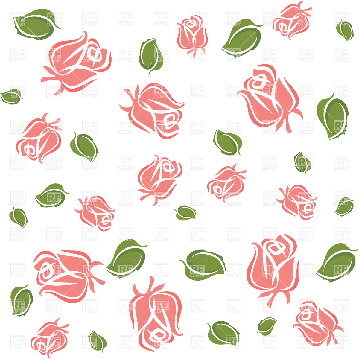 Wallpaper with rose buds and leaves Vector Image #17079.