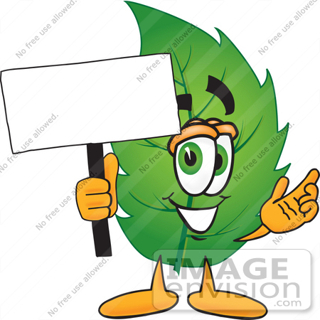 Clip Art Graphic of a Green Tree Leaf Cartoon Character Holding a.