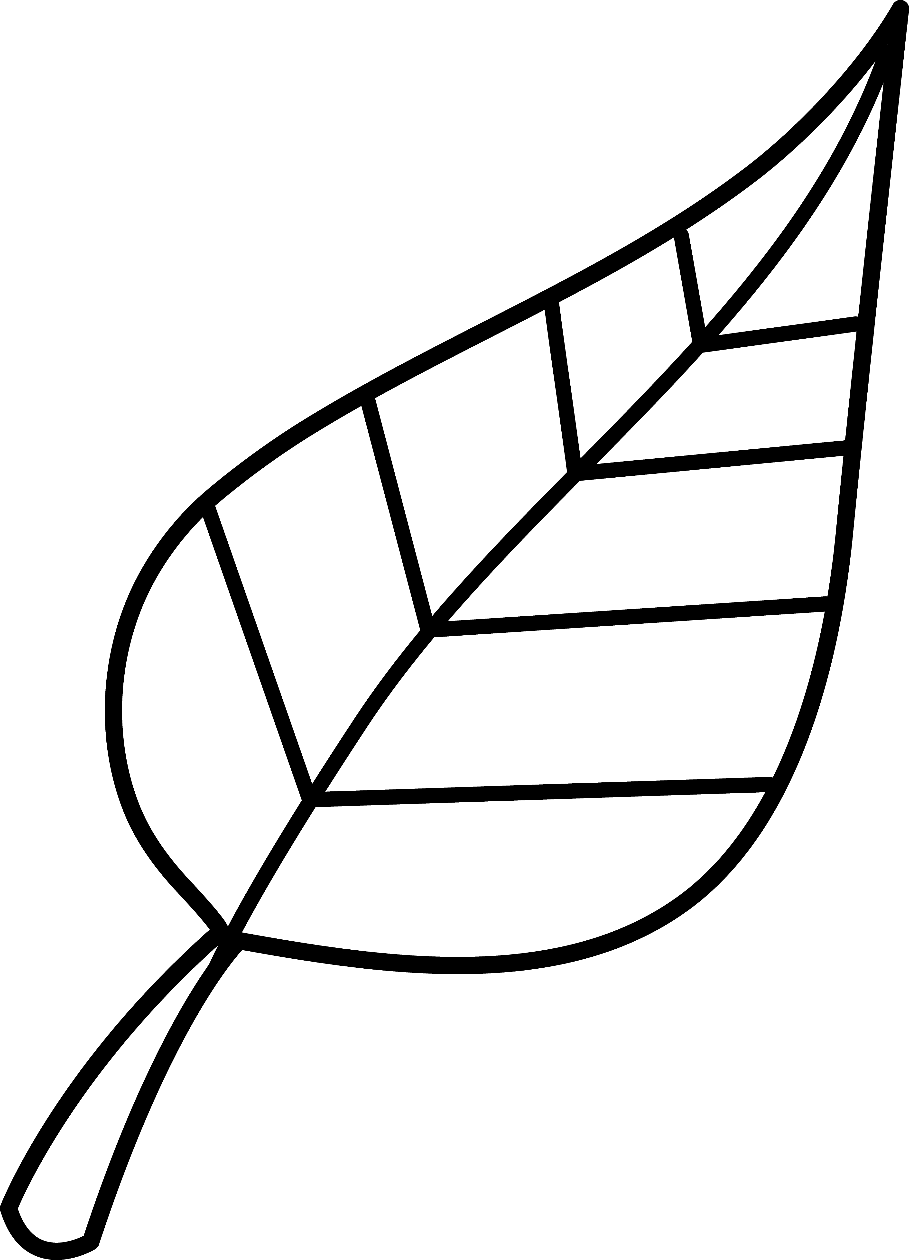 Colorable Line Art of a Leaf.
