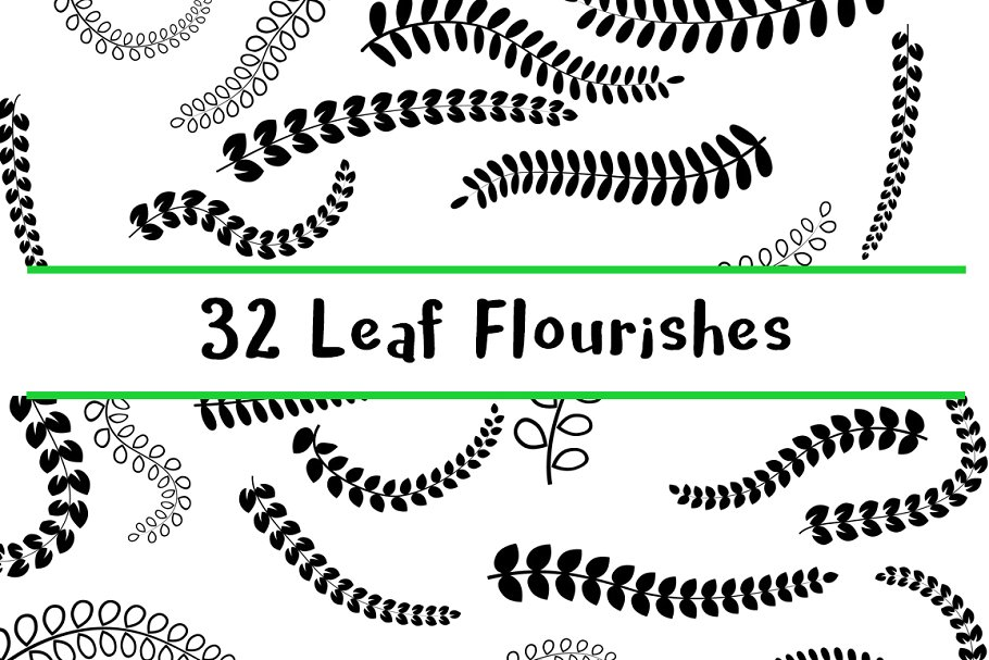 32 Decorative Leaf Flourishes.