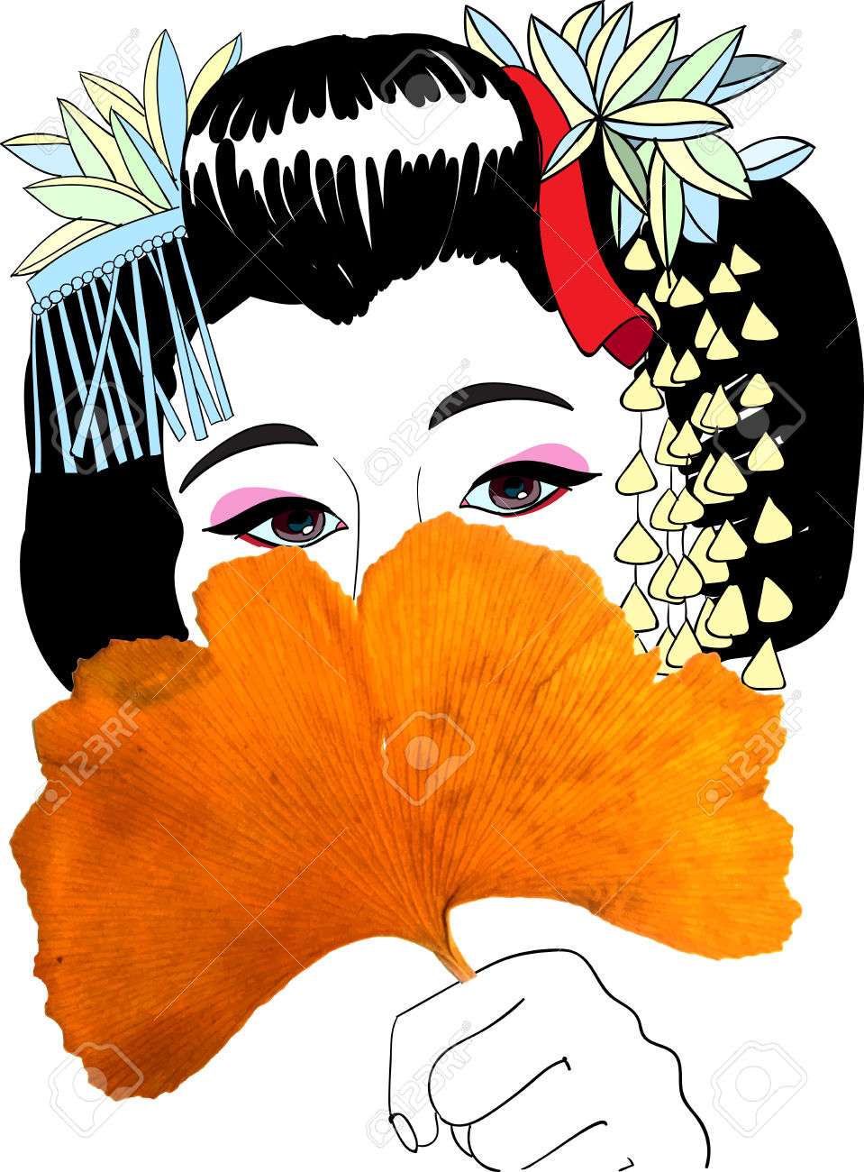 Geisha And Ginkgo Leaf Fan, Vector Illustration Royalty Free.
