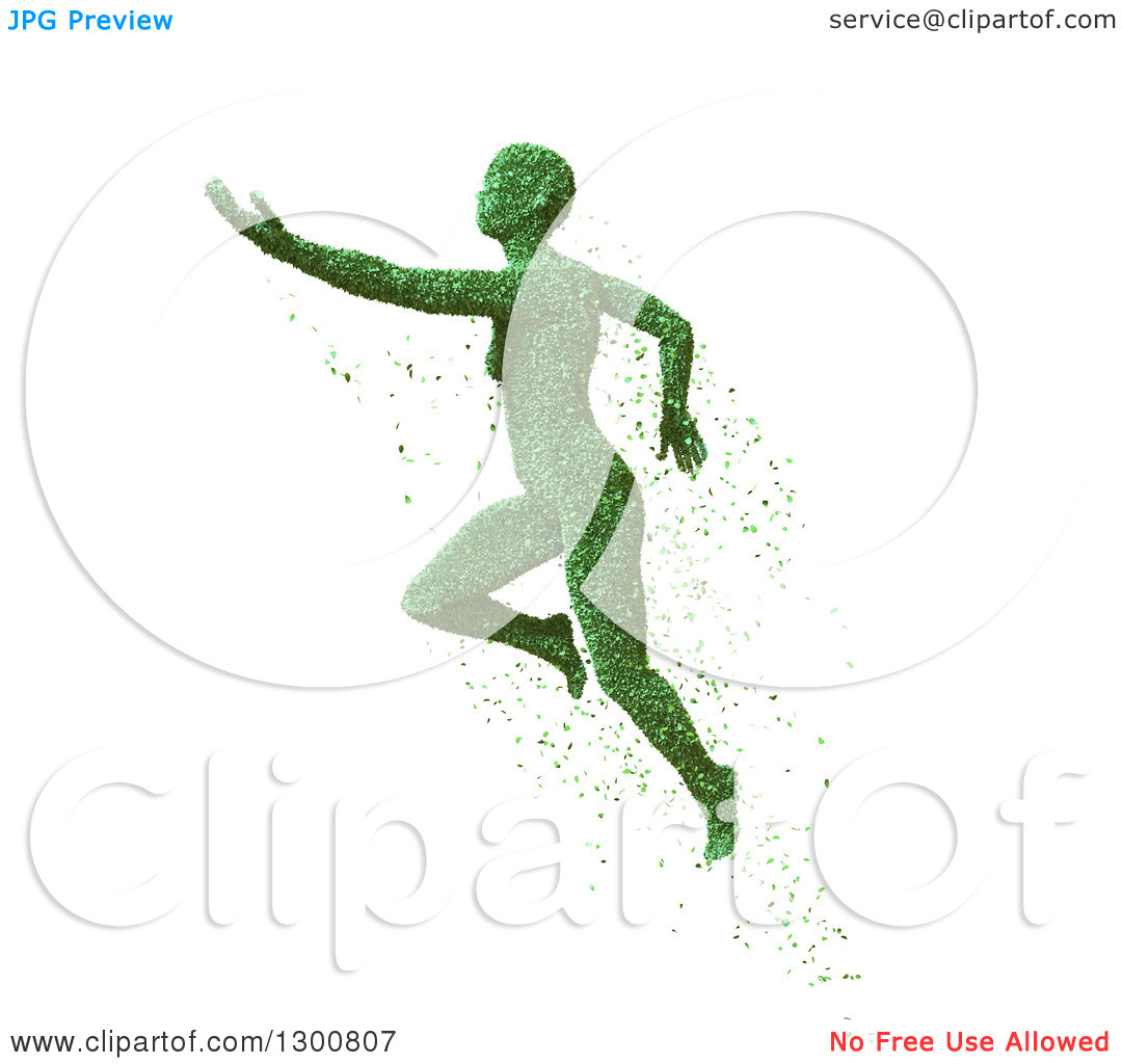 Clipart of a 3d Green Leaf Woman Floating, on White.