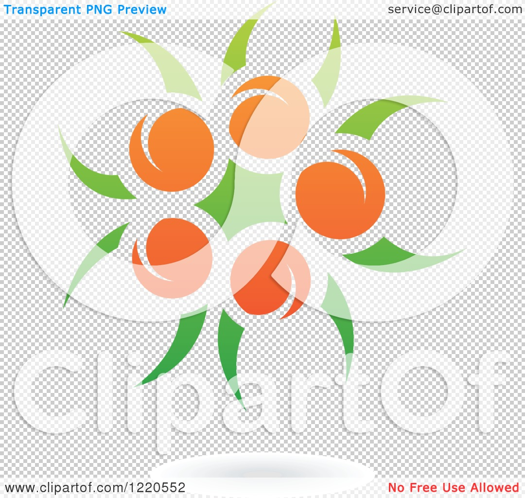 Clipart of a Floating Orange Fruit and Leaf Icon.