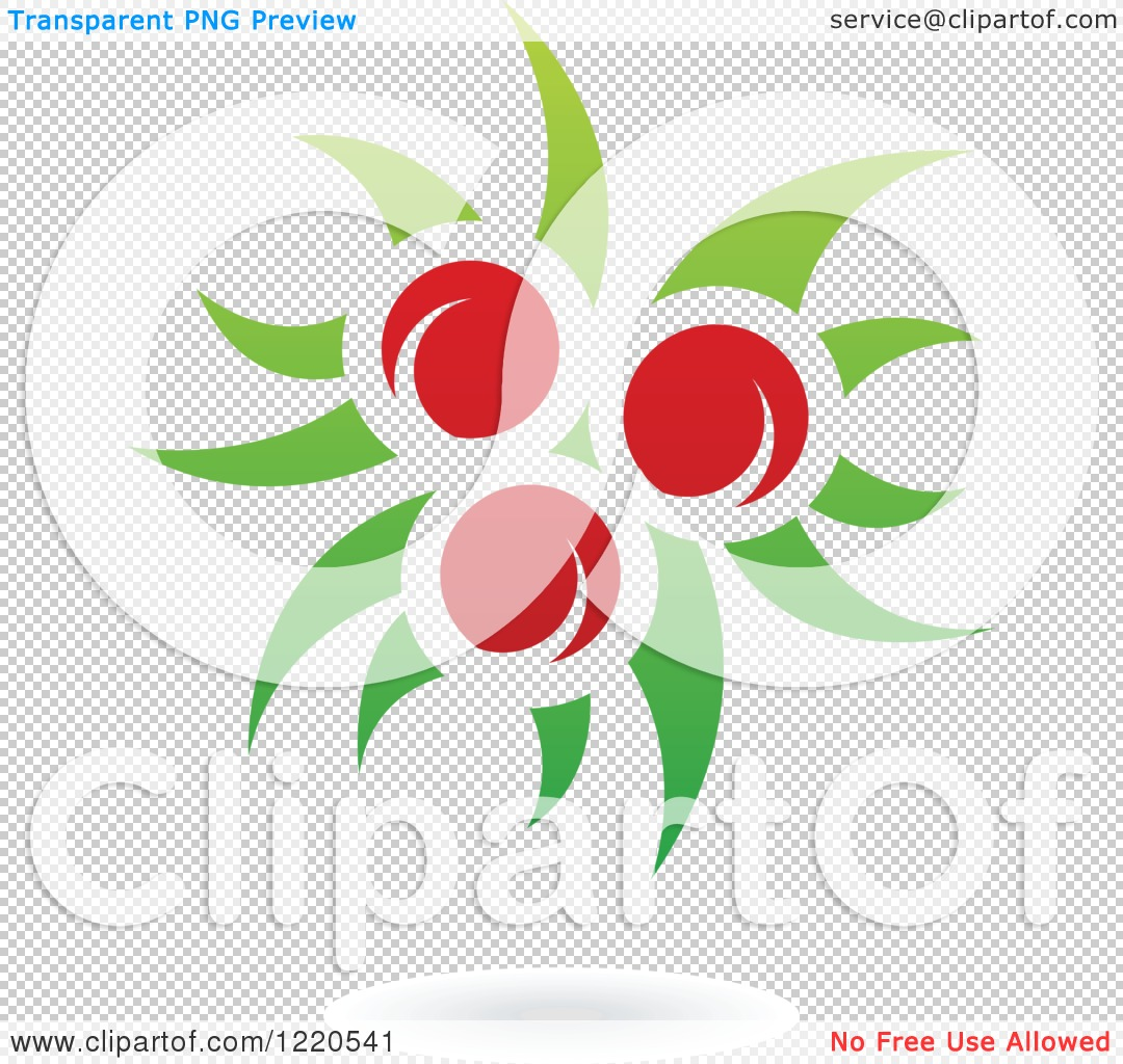 Clipart of a Floating Red Apple Fruit and Leaf Icon.