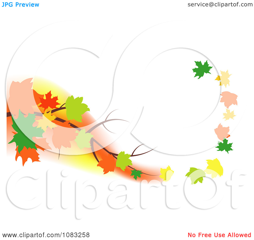 Clipart Autumn Maple Leaves Floating Off Of A Branch In A Breeze.