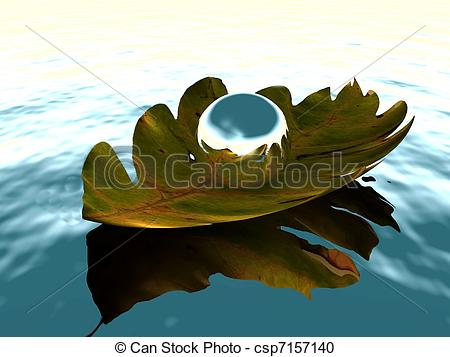 Stock Illustration of Silver sphere on a leaf floating on a body.