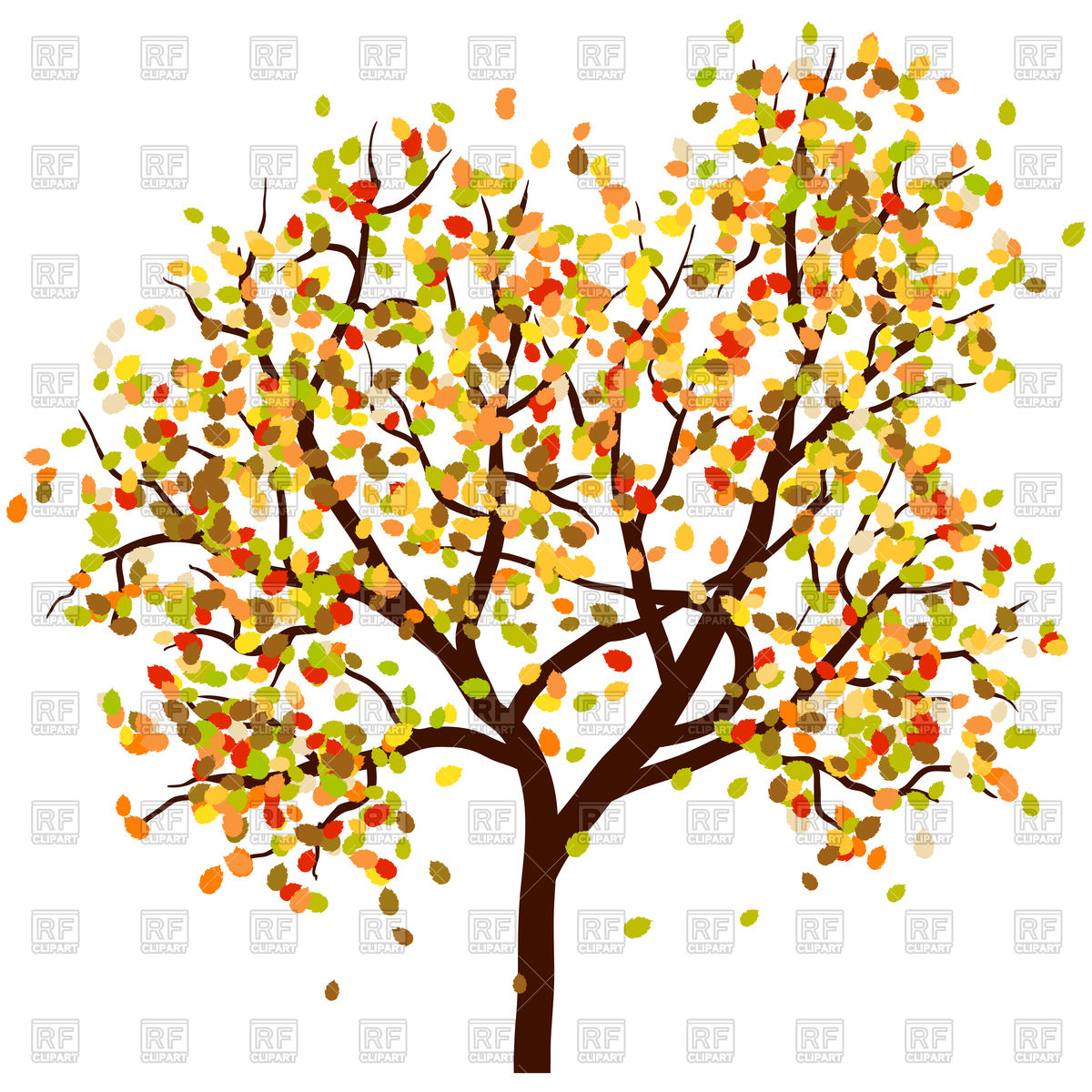 Autumn birch tree with falling leaves Vector Image #106814.