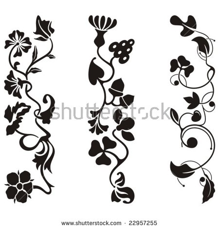 Ornamental Frieze Designs Floral Details Vector Stock Vector.