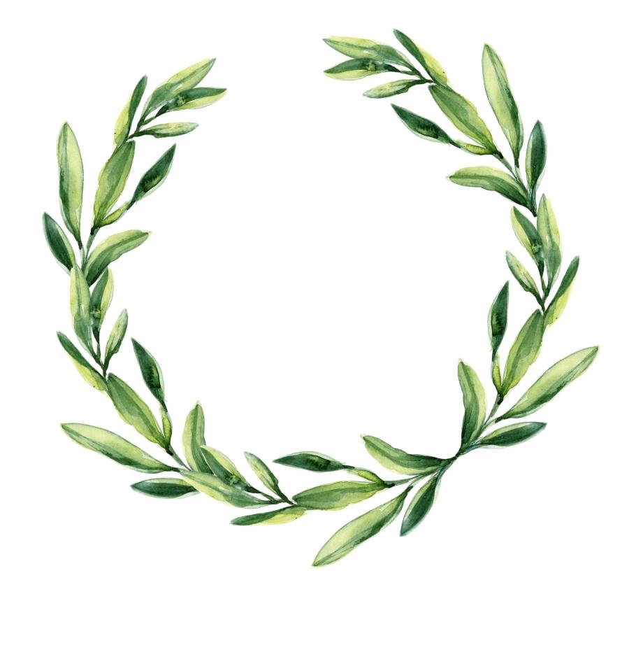 Leaf Garland Gift Wreath Watercolor Green Wedding Clipart.