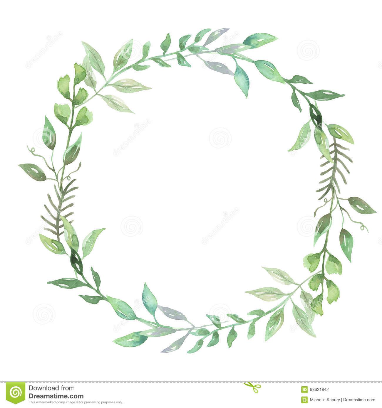 Watercolor Greenery Leaf Wreath Garland Spring Summer.
