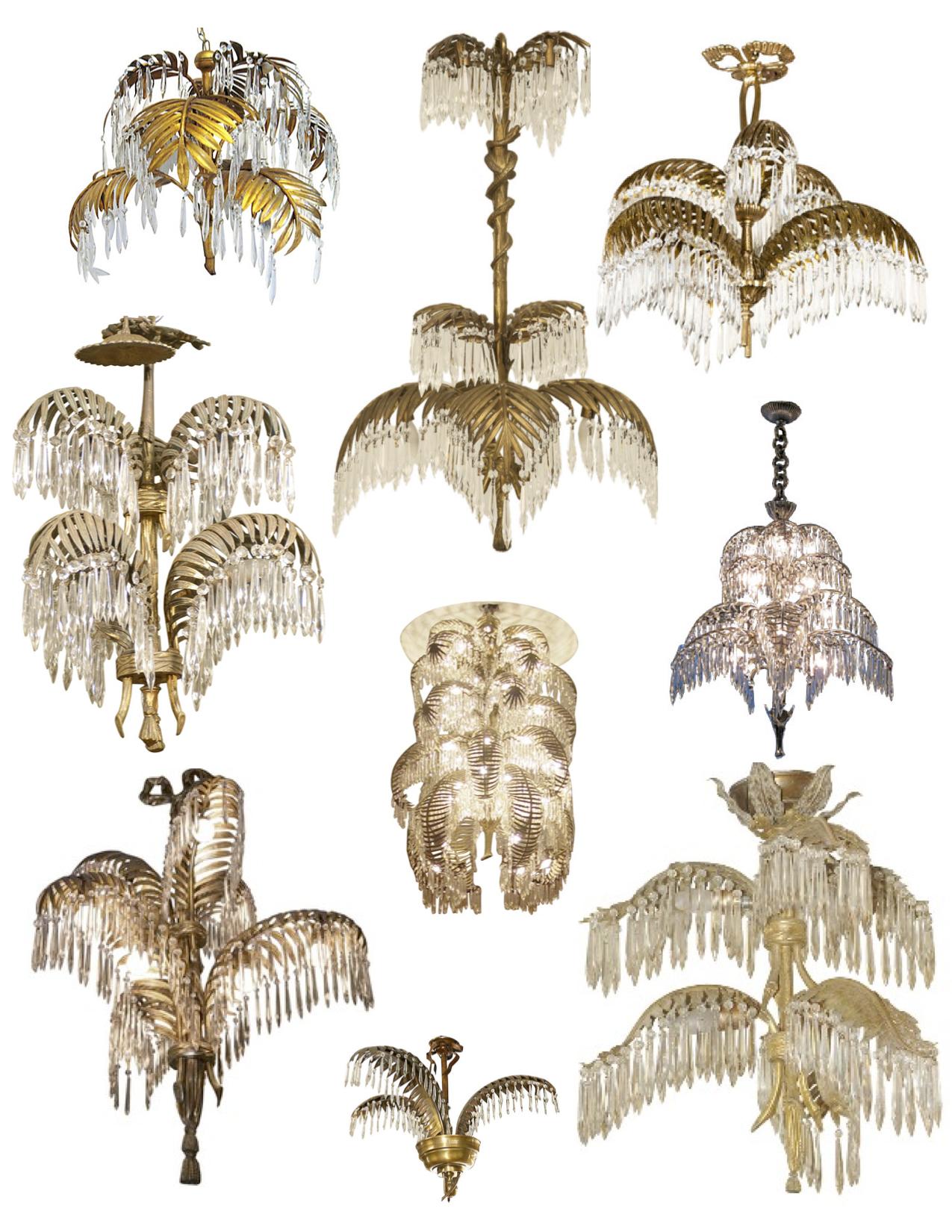 """Tiered Elegance: Vintage French """"Baguès"""" Gilt Bronze """"Palm Frond."""