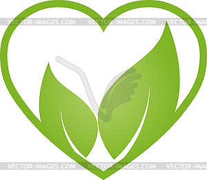 Heart and Two Leaves, Wellness, Vegan, Logo, Icon.