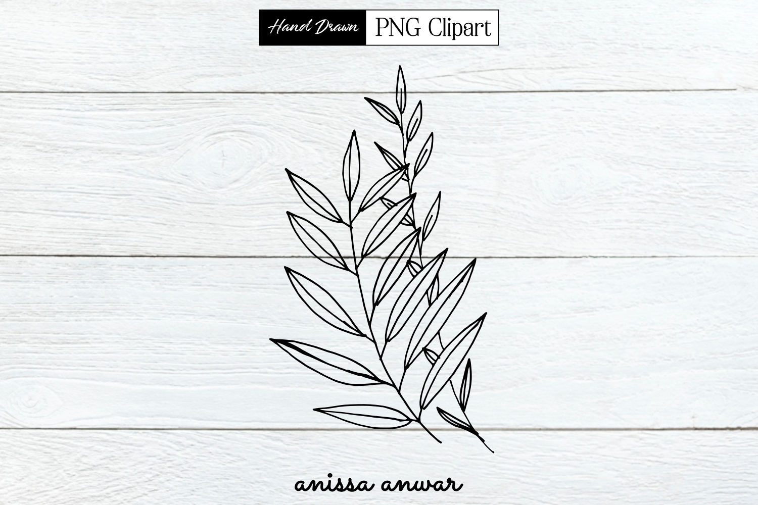 Leaves Line Art, Png Clipart, Sublimation, Printable.