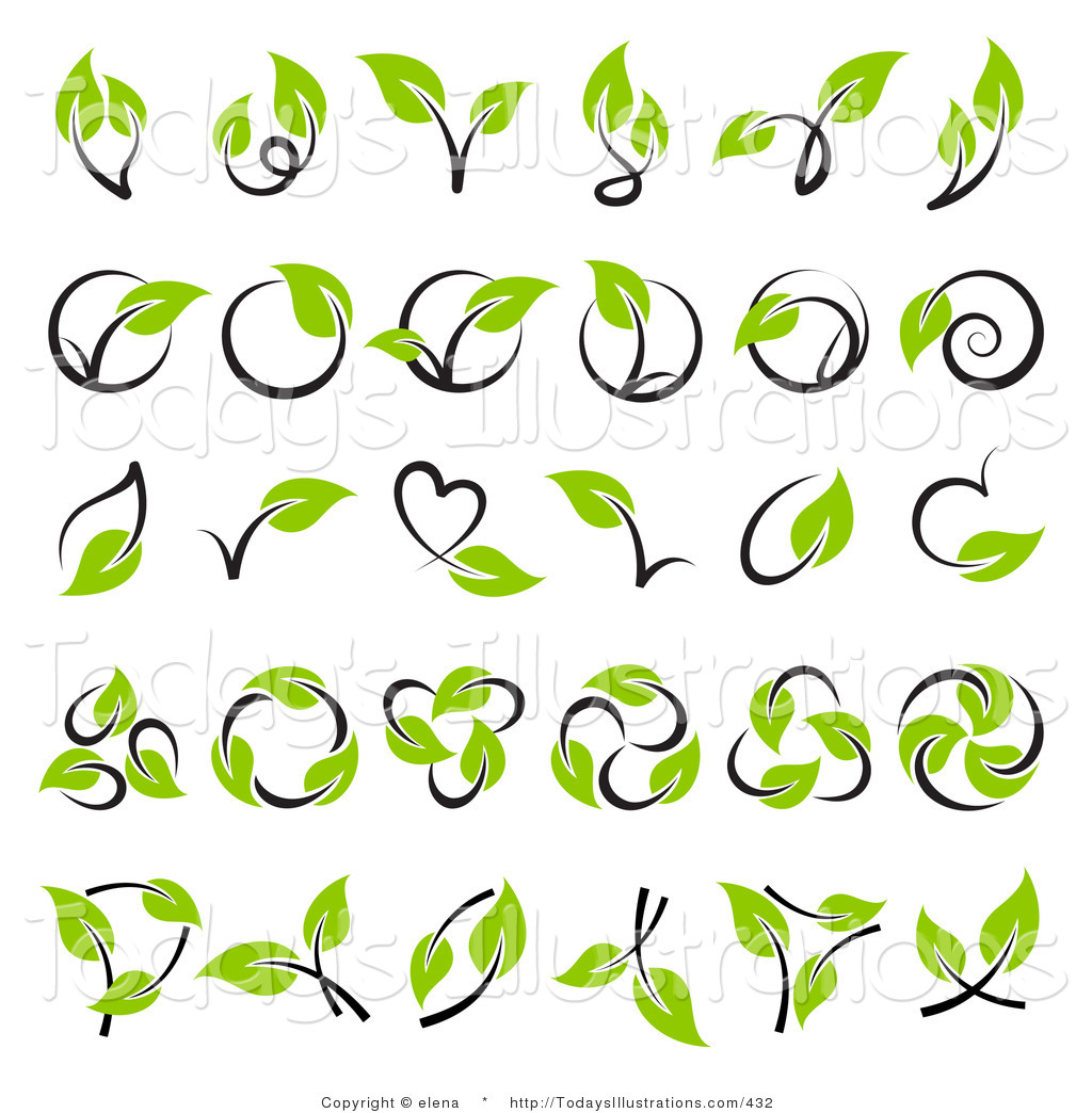 Clipart of a Digital Collage of Green Leaf and Stem Logo Nature.