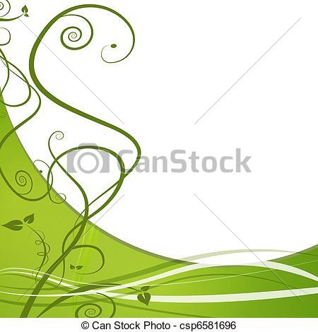 Clip Art Vector of Green Leaf Nature Vine Background.