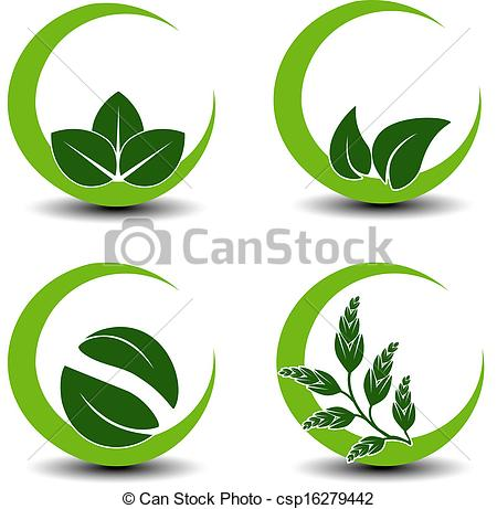 EPS Vector of Vector natural symbols with leaf.