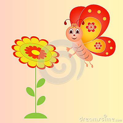 Flower And Butterfly Illustration On Pink Background Stock.