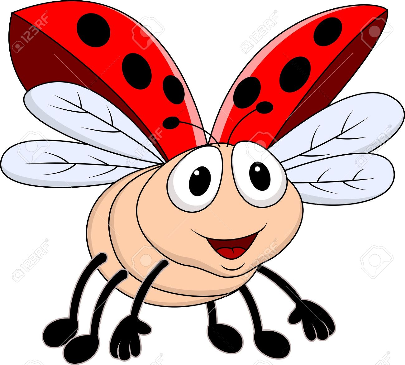 Lady Bug Flying Royalty Free Cliparts, Vectors, And Stock.
