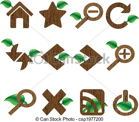 Vector Clipart of Wood And Leaf Styled Web Icon.