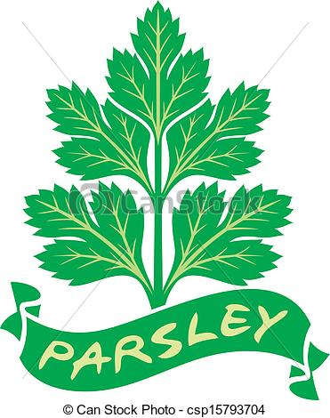 Vector Clipart of parsley label (parsley symbol, green leaves of.