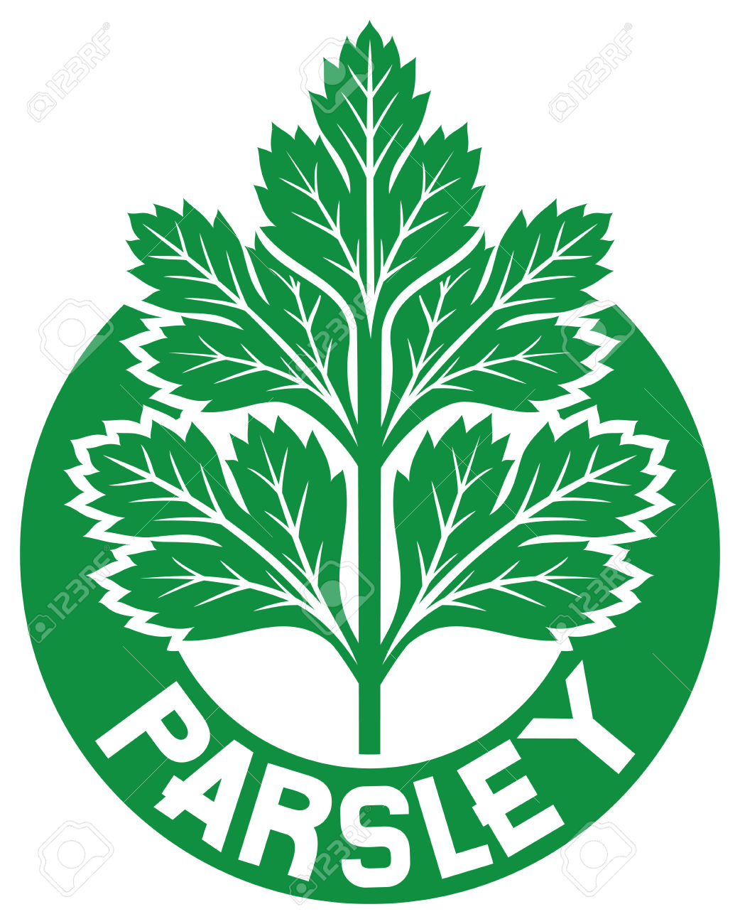 Parsley Label Parsley Symbol, Green Leaves Of Parsley Royalty Free.