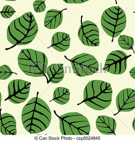 Clipart Vector of Leaf Shapes Seamless Pattern.
