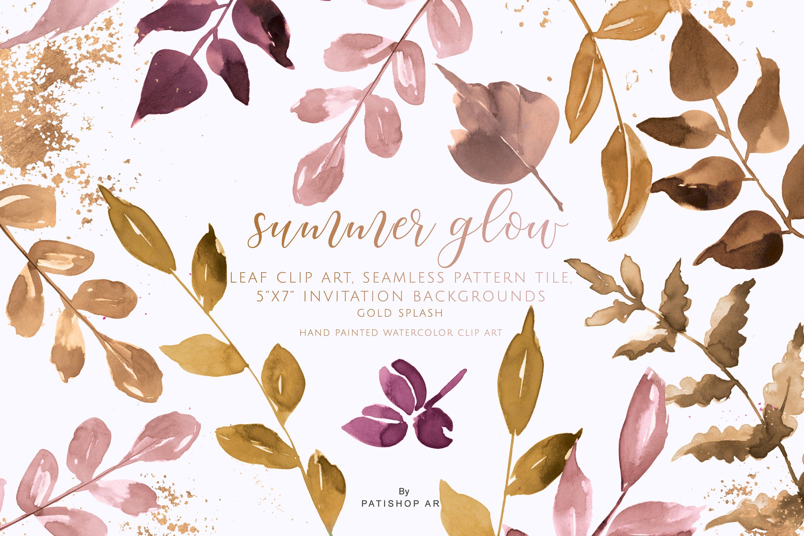 Gold & Blush Leaf Clipart Pattern Invitation Backgrounds.