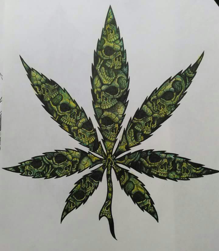 Hemp Cannabis Leaf in vintage linear style. Marijuana silhouette.