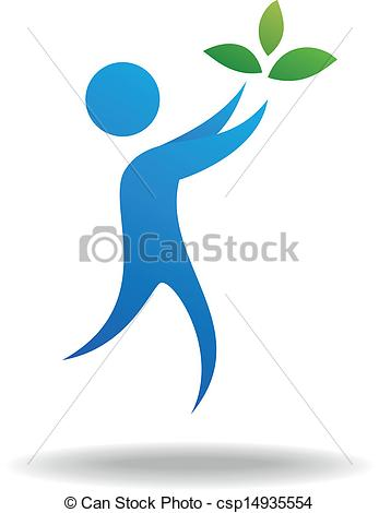 Clipart Vector of People and leaf icon, nature symbol.
