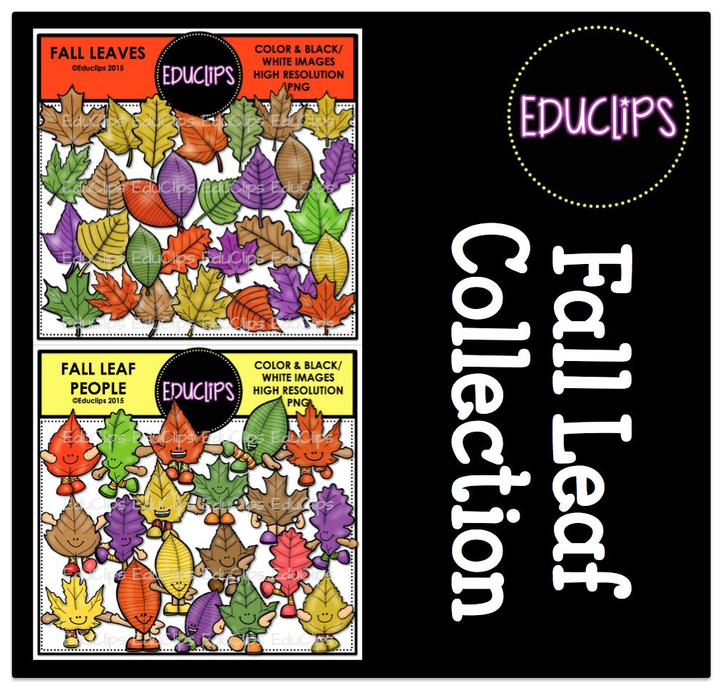 Fall Leaf Collection Clip Art Bundle (Color and B&W).