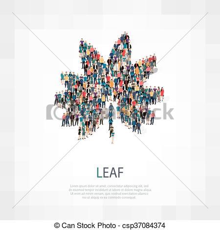 Vectors Illustration of leaf people sign 3d.