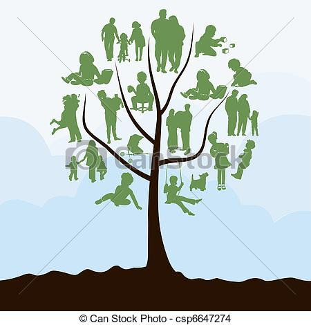 EPS Vector of Family tree with leaves in the form of people. A.